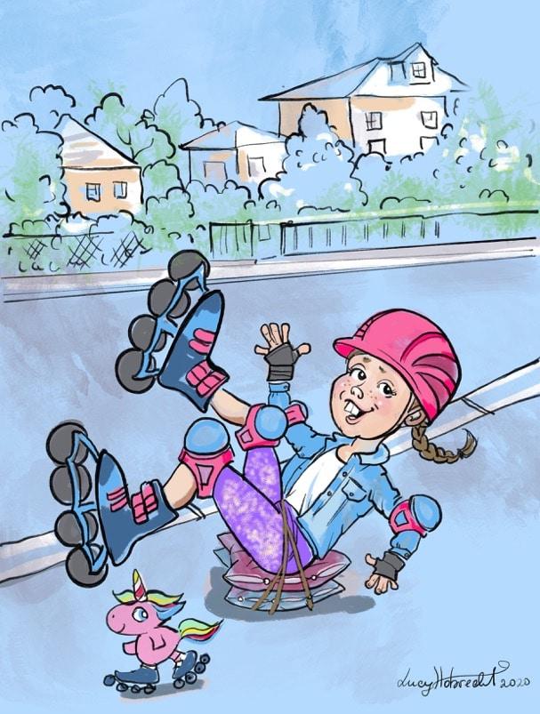 In der Karikatur fällt ein Rollschuh-fahrendes Mädchen gerade auf der Hintern, welchen sie jedoch mit Sitzkissen gepolstert hat. Sie wirkt dabei gut gelaunt. Vor ihr fährt ein kleines, rosa Einhorn ebenfalls Rollschuh.