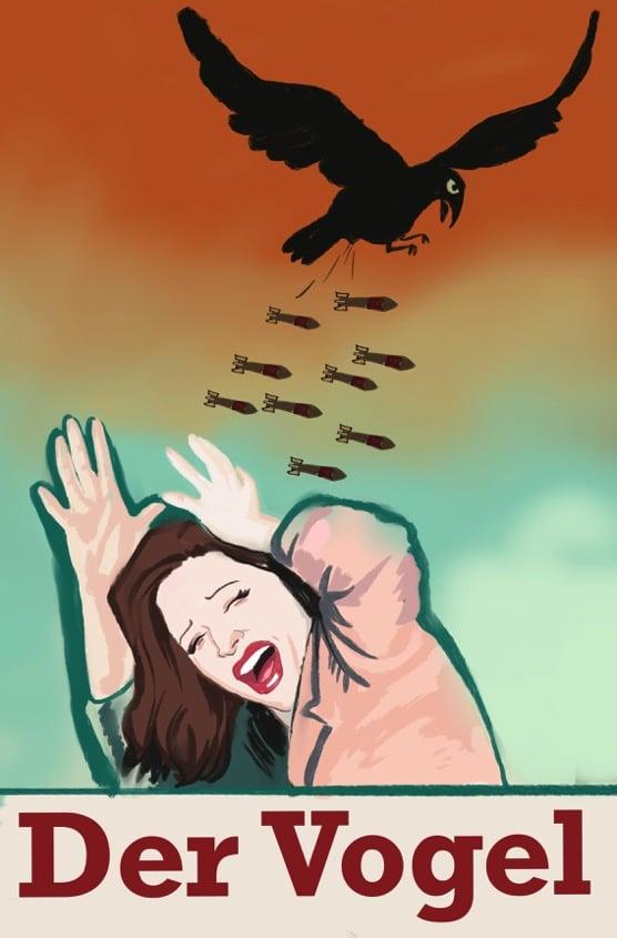 In der Karikatur wird eine sich duckende Frau von einer böse schauenden Krähe mit Streubomben beworfen. Das Bild hat eine dramatische Stimmung wie in einem Traum.