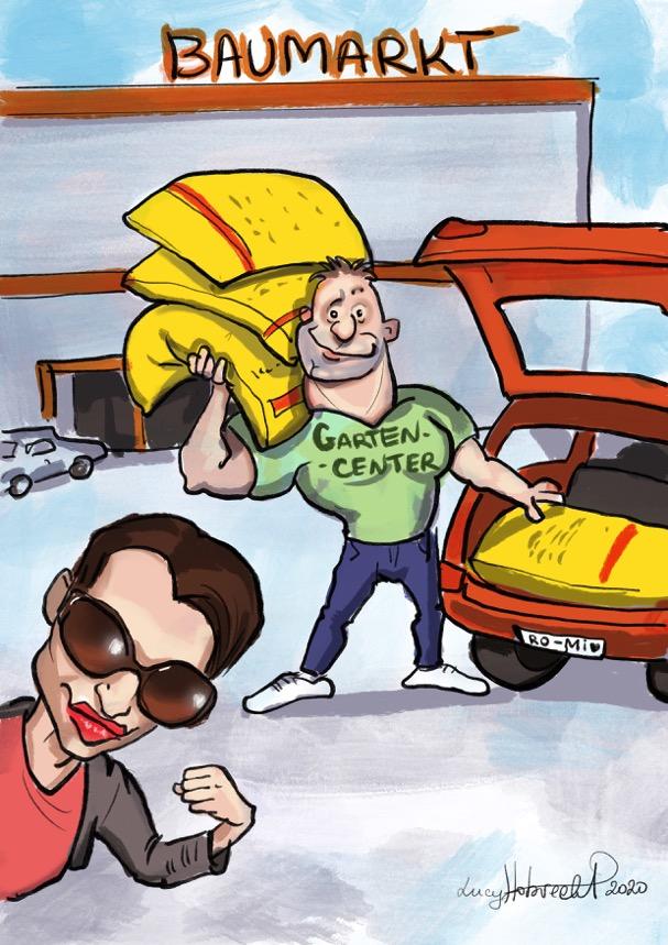 In der Karikatur wird die Autorin gezeigt, die sich von einem muskelbepackten und nicht besonders schlau aussehenden Mitarbeiter eines Gartencenters vier große Säcke Blumenerde ins Auto verladen lässt.