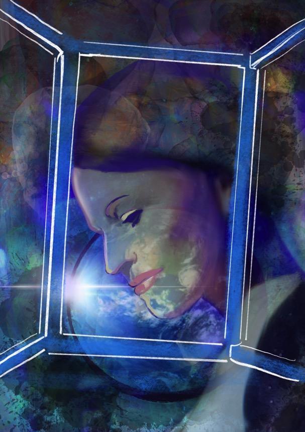 Das Bild ist sehr stimmungsvoll und beinahe abstrakt. Das Gesicht einer Frau ist hinter einem skizzierten Festerrahmen und verschmilzt mit fließenden Farben und Formen.