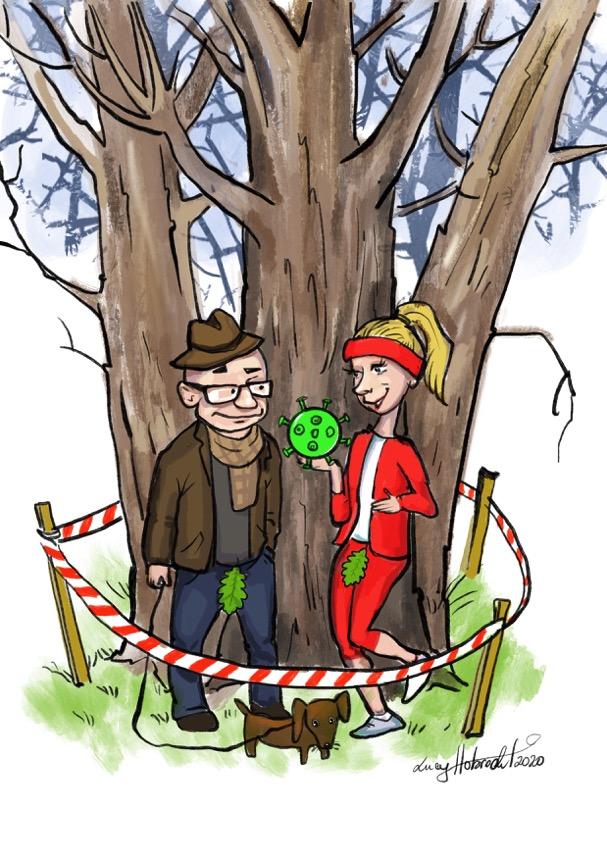 """CoSto 7: Auf dem Bild sind ein älterer Mann in Alltagskleidung und eine junge Joggerin zu sehen, beide mit Feigenblatt im Schritt trotz einer Hose. Die junge Frau hat in ihrer Hand ein grünes """"Corona-Virus"""". Beide stehen an einem Baum, der von rotem Absperrband umringt ist."""